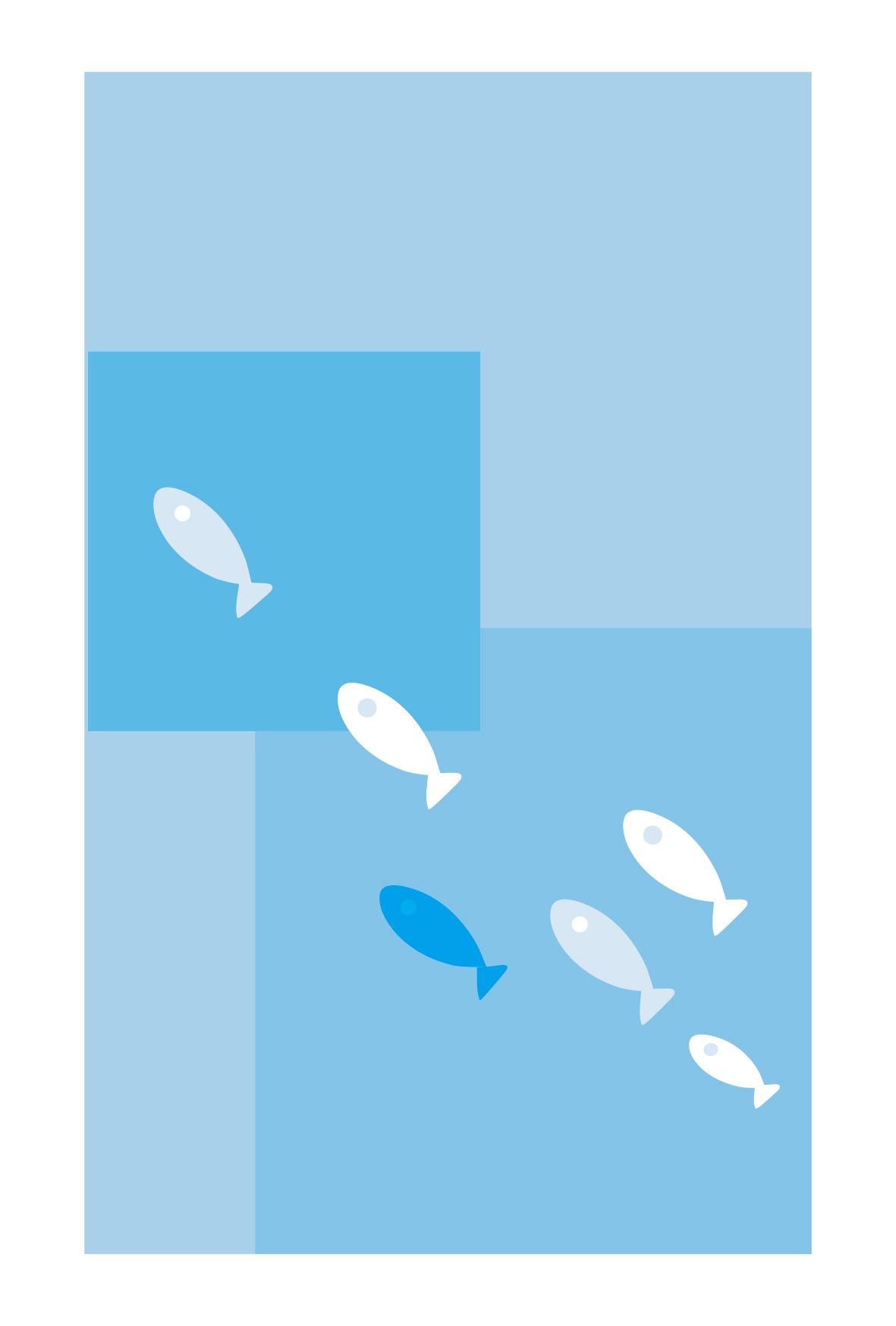 暑中見舞い無料素材/夏イラストはがき/小魚