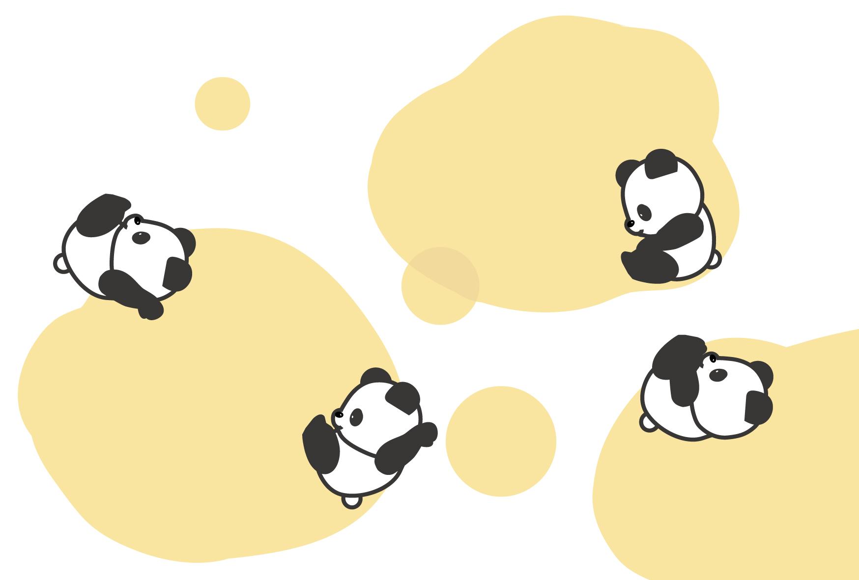 暑中見舞い無料素材/夏イラストはがき/パンダ